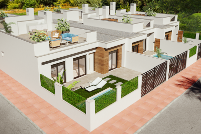 Pleasant 'New Build' 3 bedroom terraced bungalows with p...